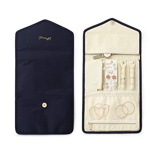 Buding Rollos para joyas, organizador de joyas, estuche enrollable para almacenamiento de joyas, accesorios de viaje, para joyas, anillos, pendientes, collares, lápiz labial, 23 x 15 cm
