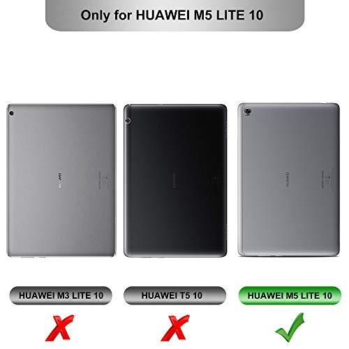 IVSO Hülle für Huawei MediaPad M5 Lite 10, Ultra Schlank Slim Schutzhülle Hochwertiges PU mit Standfunktion Perfekt Geeignet für Huawei MediaPad M5 Lite 10 10.1 Zoll 2018 Modell, Schwarz - 2