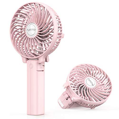 Funme Mini ventilateur portatif avec batterie rechargeable USB et 3 vitesses pour le bureau, la maison, les voyages et les activités de plein air 2600mAh Rose