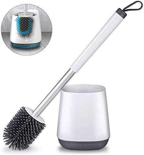 Afvoer gereedschap reinigen met de toiletbril van de wc-borstel zachte borstels en borstelhouder met base toilet