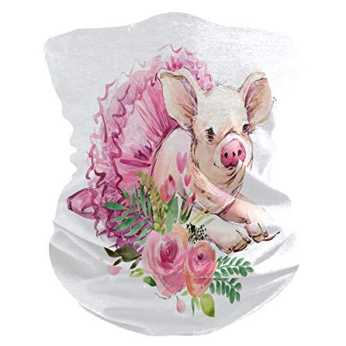 TropicalLife - Bandanas para cara, diseño de cerdo y flor, color rosa