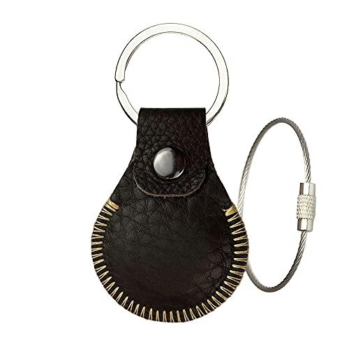 Leder Hülle für AirTag Schlüsselanhänger, Ganzkörper Schutzhülle für Apple Tracker, Sicherer Halter am Hundehalsband, börse, Anti-Verlust-Finder mit Schlüsselring und Schlaufe Zubehör