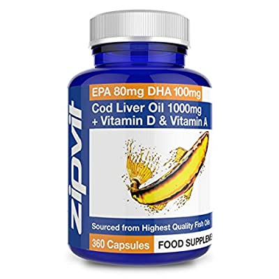 Cod Liver Oil 1000mg, 360 Capsules of High Strength Fish Oil, Rich in Omega 3. Supports Heart Health, Brain Health, Eye Health and Normal Blood Pressure