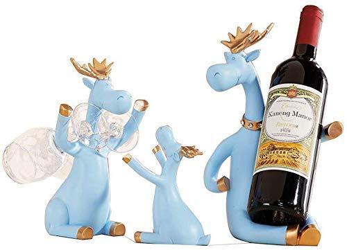 Estantería de vino Estante del vino de la botella, vino copa de vino rojo de los alces ornamentos for el Living Room Bar Decoración de restauración for el vino Armarios, Navidad, tres colores estante
