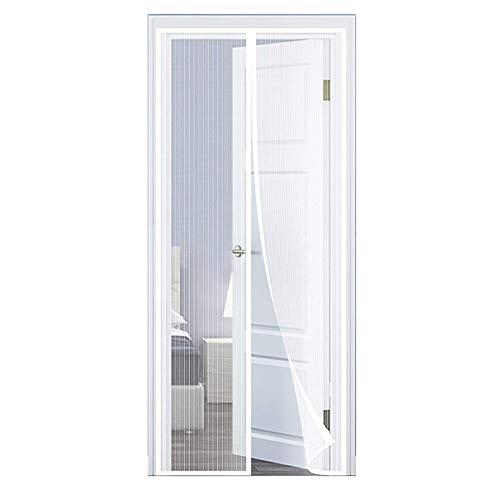 GUOGAI Moustiquaire Porte MagnéTique, 120x250cm(47x98inch) Store Moustiquaire Rideau Anti Mouche Animaux AcceptéS pour Enfants et Animaux de Compagnie, Blanc