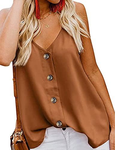 MOLERANI para Mujer, Sexy, con Cuello en V, Tirantes Finos, Camisetas sin Mangas, Blusas sin Mangas fluidas, Camisas Naranja XL