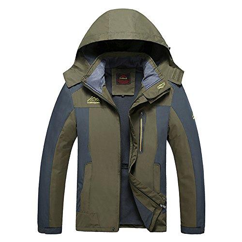 SZRXKJ Lot de 3 Paires de Chaussettes à Capuche en Polaire pour Homme et randonnée Vert armée Taille XL