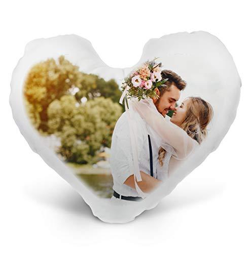 LaMAGLIERIA Cojines Personalizados con Foto - 40cmx40cm - Forma de corazón - Blanco - con Relleno