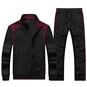 KASUNA Men's Gym Contrast Jogging Full Tracksuit Training Suits Sportswear Sets with Full Zipper