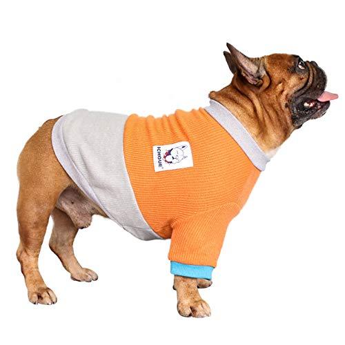 iChoue Pet Dog Crewneck Sweater Color Block Pullover Winter Warm Clothes for English Bulldog Bully Pitbull - Orange and Grey/XL