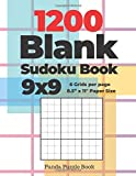 """1200 Blank Sudoku Book 9x9 - 6 Grids per page - 8,5"""" x 11"""" Paper Size: Create Your Own Personal Logic Puzzle Games"""