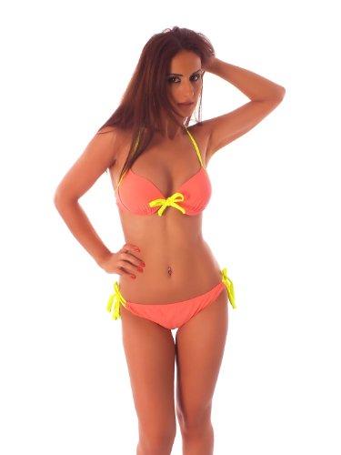 H.Nathalie - Damen Bügel Push-Up Bikini mit Schleife, Neckholder 4146015-(36/38)-L-Apricot