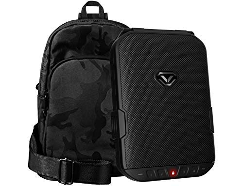 Vaultek LifePod Secure Waterproof Travel Case Rugged Electronic Lock Box Travel Organizer Portable Handgun Case with Backlit Keypad (TrekPack (Black LifePod w/Black Camo SlingBag))