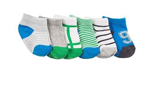 Robeez Baby Boys 6-Pack Socks, Sporty Spencer Blue/Green, 6-12 months