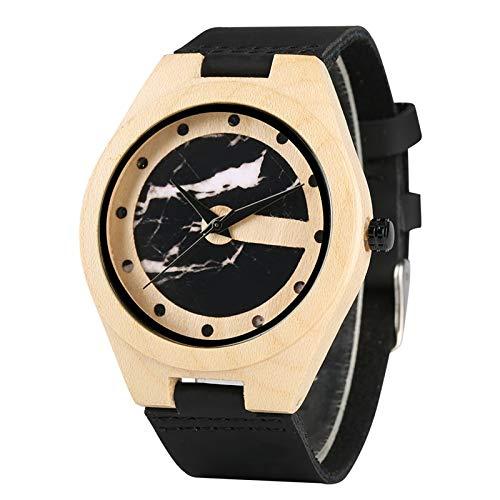RWJFH Reloj de Madera Reloj de Madera de bambú único con Forma de Letra C para Hombre, Reloj para Hombre, Dibujo artístico Retro, analógico de Cuarzo, de Moda