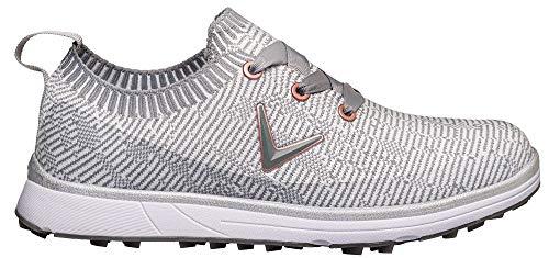 Callaway Solaire 2020 Zapato de golf impermeable sin clavos Mujer, Blanco/Gris, 38.5 EU