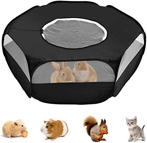 Pequeño parque de juegos con cubierta, jaula portátil plegable para mascotas, impermeable y transpirable, transparente para interiores y exteriores, tienda de campaña para conejo