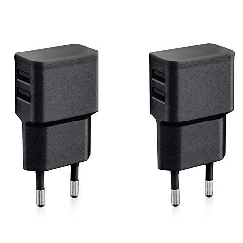 Wicked Chili 2X Cargadores con Doble USB de Carga rápida Universal para Smartphone, Smart Watch, Powerbank y Altavoz Bluetooth - Cargador USB de Pared con 2 Puertos USB de 90 Grados (12W/2,4A) Negro