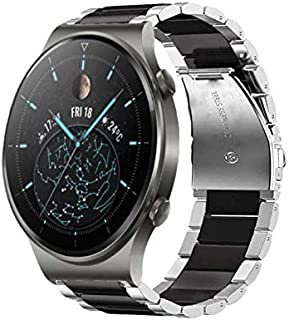Dado Huawei GT2 PRO watch stainless steel band , 22 mm strap (Silver-Black)