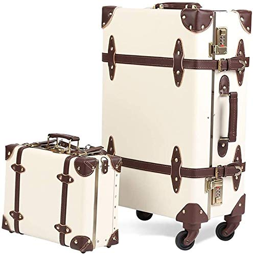 XKstyle Retro Suitcase Trolley Suitcase With Trolley Suitcase 14 Inches, Lightweight Portable Men (size: 53 × 36 × 21CM) (Color : White, Size : 53×36×21CM)