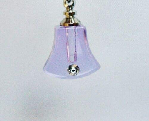 Lavender Glass Bell Shape with Rhinestone Vial Perfume Oil Rice Bottle Pendant Fashion Jewelry for Women Man