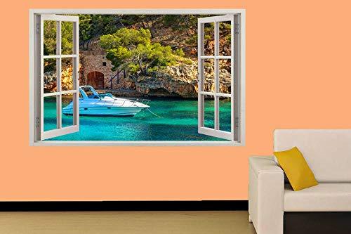 Wandtattoo BLAUES MEER LUXUSBOOT 3D WINDOW WALL STICKER RAUM DEKORATION AUFKLEBER MURAL-60x90cm