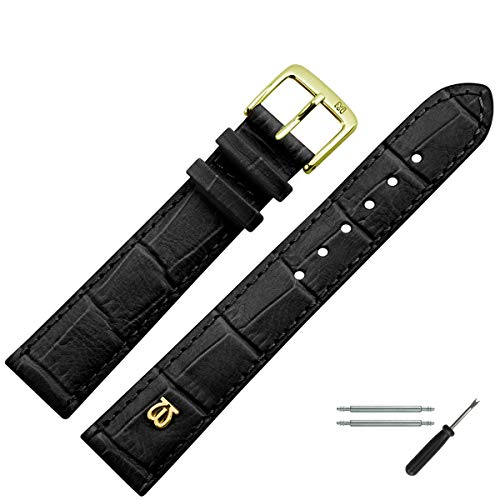 MARBURGER Uhrenarmband 20mm Leder Schwarz Alligator - Werkzeug Montage Set 5282010000220