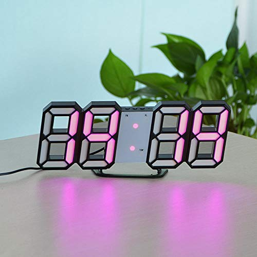 3D LED Wandklok Kerstdecoratie Lichtweergave Datum Tijd Moderne wekker Thuis Woonkamer Tafel Decor Lamp Fairy Lights