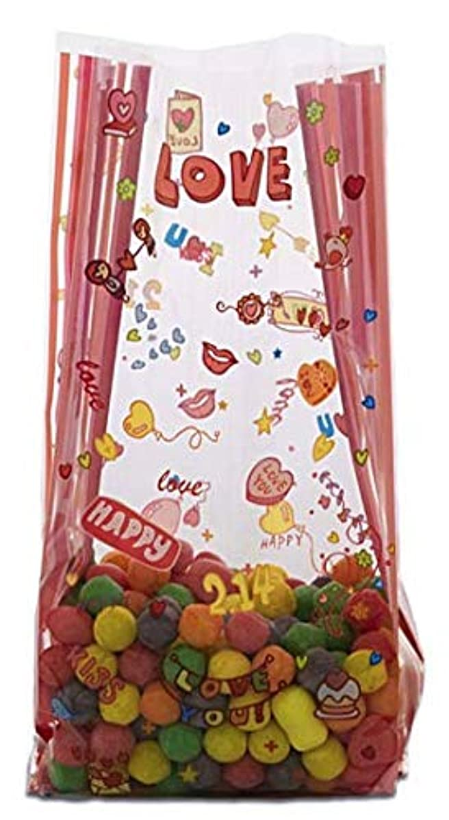 Valentines Day Treat Bags Clear Cello Bags for Candy, Pack of 20