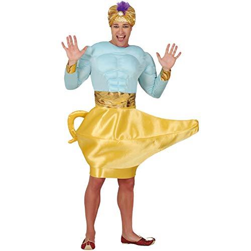 NET TOYS Encantador Disfraz de Genio de la Botella para Caballero - Azul-Dorado L (ES 52/54) - Brillante Vestimenta Genio para Hombre - El Hit de carnavales y Fiestas temáticas