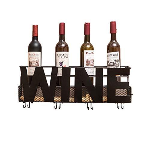 HTDZDX Hierro labrado Vino Estante Pared Botella de vino Copa Corcho Vino tinto Estante for colgar en la pared