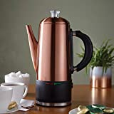Brushed Copper Stainless Steel 1.5L Cordless Coffee Percolator