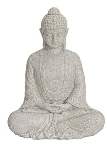 G.W. Buddha Figur meditierend 25cm in ALTWEISS, Deko Artikel für Garten & Haus, Buddha-Skulptur, Wohnaccessoire, schöne Thai Statue, tolle Geschenkidee