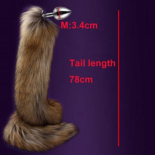 Aạult Chew Tọy 78cm Super Long Tail Anạl Plụg Faux Fur Metal Bụtt Cosplay Role Novelty Beads sẹx Tọys Man Women-M-Brown