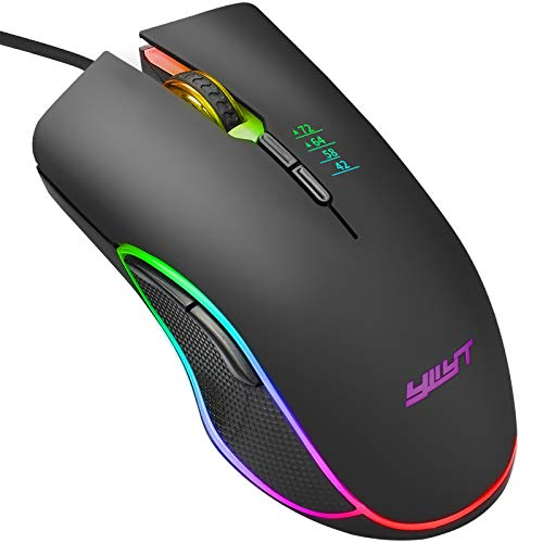 Gaming Mouse,7200 DPI Upgraded Durable RGB Gaming Mouse,Ergonomic Optical Programmable RGB Wired Gaming Mouse, Wired Laptop PC Computer RGB Gaming Mouse Mice for Windows 7/8/10/XP Vista Linux, Black