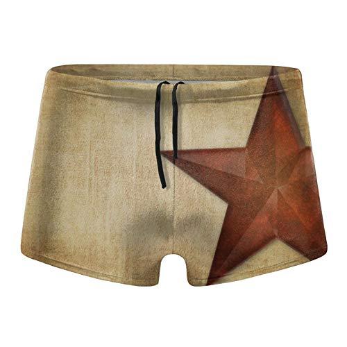 Traje de baño para hombre, estilo rústico, con diseño de estrella de granero