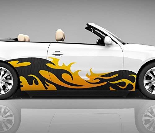 2x Seitendekor 3D Autoaufkleber Welle gelb Digitaldruck Seite Auto Tuning bunt Aufkleber Seitenstreifen Airbrush Racing Autofolie Car Wrapping Tribal Seitentribal CW120, Größe Seiten LxB:ca 120x30cm