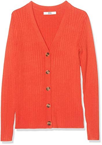 Amazon-Marke: find. Damen Strickjacke mit V-Ausschnitt, Rot, 36, Label: S