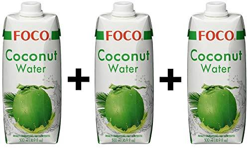 Foco in cocco sul petto acqua, Pur, 100% Naturalmente, 3 pacchetto (3 x 500 ml)