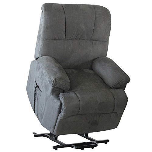 MACOShopde by MACO Möbel Fernsehsessel mit elektrischer Aufstehhilfe und Fernbedienung mit 2 Motoren, Relaxsessel/TV-Sessel aus Mikrofaser, grau