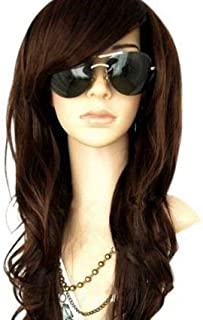 MelodySusie Dark Brown Long Curly Wavy Wig for Women, 34 Inches Hair Replacements Wigs with Bangs Synthetic Hair Wig Natural Looking Daily Party Cosplay Costume Wigs with Free Wig Cap, Dark Brown