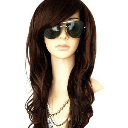 MelodySusie Dark Brown Long Curly Wavy Wig for Women, 34 Inches Hair Replacements Wigs with Bangs Synthetic Hair Wig Natural Looking Daily Party Halloween Cosplay Costume Wigs with Wig Cap, Dark Brown
