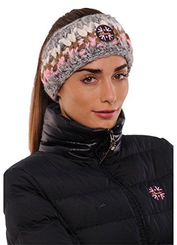 SPOOKS Damen Kopfband, Headband, Stirnband, Haarband - Winter, Kopf, Sport, Schweiß Band - Colour Headband rosa/Grey OneSize