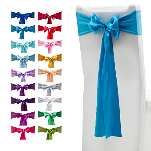 10 unidades de fundas elásticas de elastano para sillas, bandas de lazos con lazos de satén para decoración de bodas, hogar, fiestas 10 unidades azul