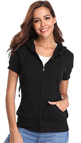 MISS MOLY Damen Kurzarm Kapuzenpullover Sweatjacke Hoodie Sweatshirt mit Reissverschluss Schwarz X-Large