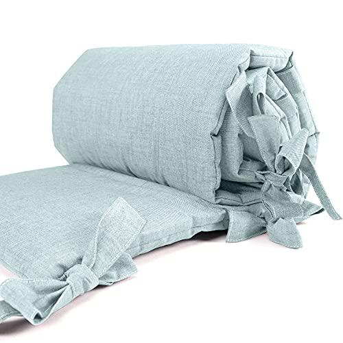 Sugarapple Baby Nestchen Bettumrandung dick gepolstert für Beistellbetten, Kopfschutz und Kantenschutz für babybeistellbetten, Bettnestchen Maße: 170 x 25 cm, Uni Salbei Grün
