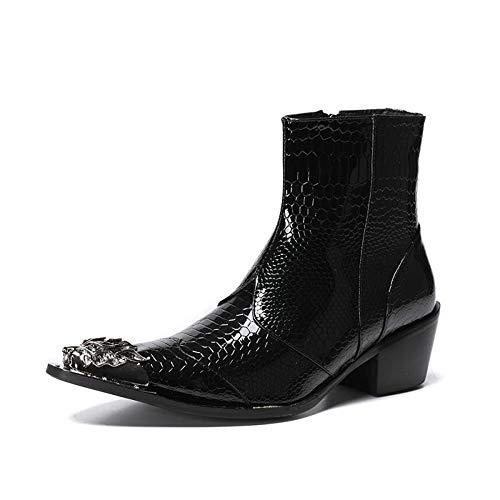 Lederen schoenen, heren Martin enkellaarzen, brock, gesneden slangenhuid, Britse wind, puntig hoog, herenschoenen