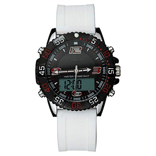 Reloj impermeable para deportes al aire libre con doble pantalla, reloj militar digital analógico para montañismo, reloj despertador multifunción para estudiantes / hora mundial / hora GMT dos lugares