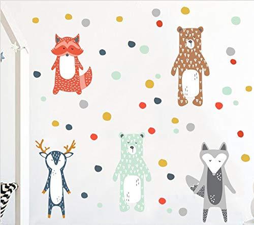 Generic 5Unidades Animales del Bosque Dots Puntos Pared Adhesivo de Pared Adhesivo Decorativo bebé habitación de los Niños Vinilo