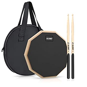 LOLUNUT 12 Inch Silent Drum Pad,Dumb Drum Beginner Rubber Practice Pad,with 5A Drum Sticks & Storage Bag Black